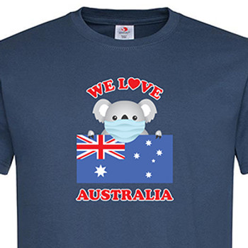 """Adults Classic T with """"We Love Australia"""" Design - Navy - Close Up"""
