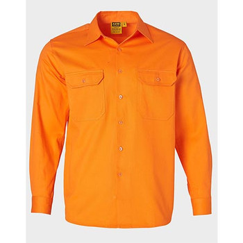Orange - SW51 Mens Hi Vis L/S Drill Shirt - Winning Spirit