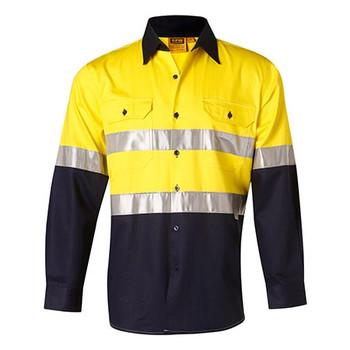 Yellow-Navy - SW68 Mens Long Sleeve Taped Safety Shirt - Winning Spirit
