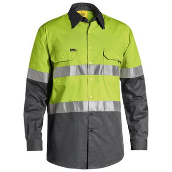 Lime-Charcoal - BS6696T Taped Hi Vis Cool Lightweight Shirt - Bisley