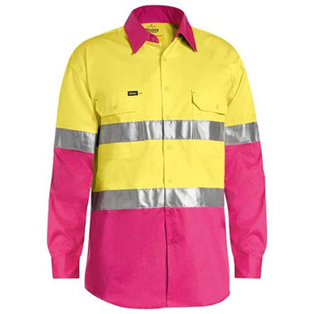 Yellow-Pink - BS6696T Taped Hi Vis Cool Lightweight Shirt - Bisley