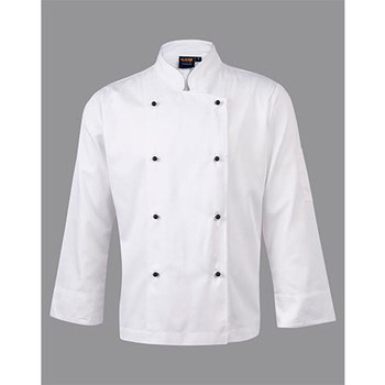 White - CJ01 Chefs Long Sleeve Jacket - Winning Spirit