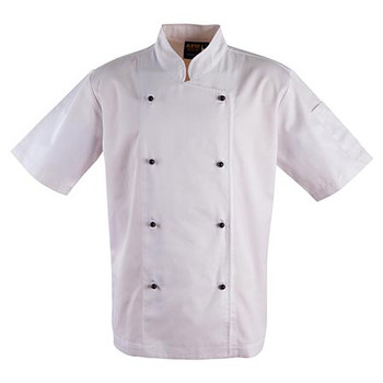 White - CJ02 Chefs Short Sleeve Jacket - Winning Spirit