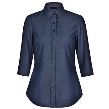Navy - M8400Q Ladies Ascot Dot Jacquard 3/4 Sleeve Stretch Shirt - Winning Spirit