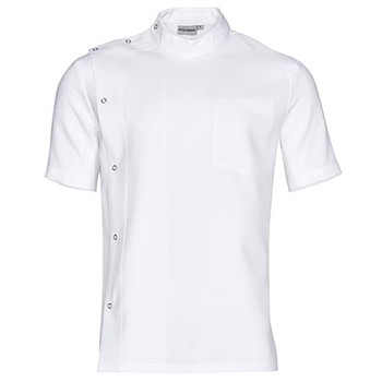 White - M7636 Mens Stud Front Short Sleeve Jacket - Winning Spirit