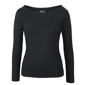 Black - 1BTL C of C L/S Boat Neck Tee - JBs Wear