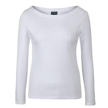 White - 1BTL C of C L/S Boat Neck Tee - JBs Wear