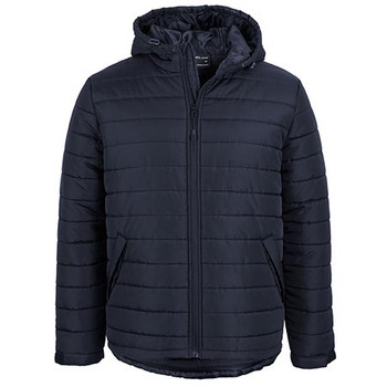 Navy - 3AHJ Hooded Puffer Jacket - JBs Wear