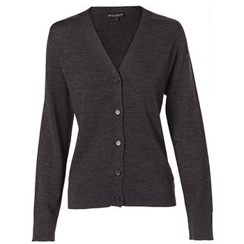 Charcoal - M9602 Womens V-Neck Long Sleeve Cardigan - Winning Spirit