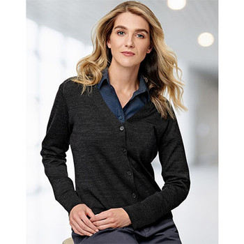 M9602 Womens V-Neck Long Sleeve Cardigan - Winning Spirit
