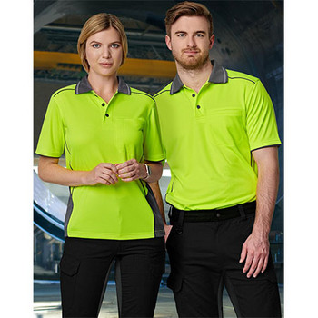 SW79 Unisex Hi-Vis Bamboo Charcoal Vented S/S Polo - Winning Spirit