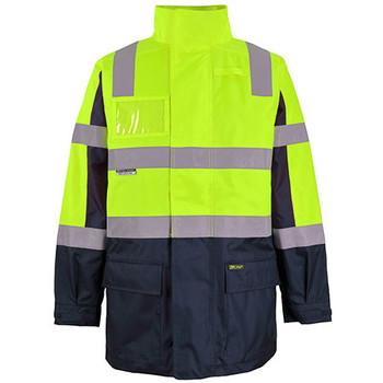 Lime-Navy - 6DNCJ Hi Vis Visionary Jacket - JBs Wear