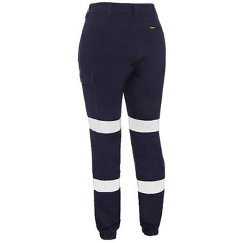 BPL6028T - Womens Taped Cotton Cargo Cuffed Pants - Navy - Back