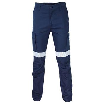 Navy - 3371 SlimFlex Cushioned Knee Pads Segment Taped Cargo Pants - DNC Workwear
