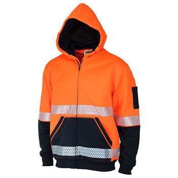 Orange-Navy - 3530 Hi Vis Segmented Tape Full Zip Hoodie - DNC Workwear