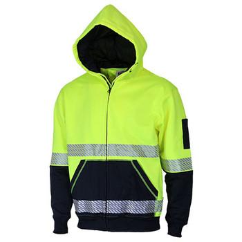 Yellow-Navy - 3530 Hi Vis Segmented Tape Full Zip Hoodie - DNC Workwear