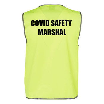 Yellow - COVID MARSHAL - SW02A Hi-Vis SAFETY VEST Adult - Australian Industrial Wear