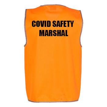 Orange - COVID MARSHAL - SW02A Hi-Vis SAFETY VEST Adult - Australian Industrial Wear