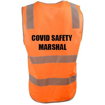 Orange - SW43 - COVID MARSHAL Vinyl Transfer Safety Vest with Shoulder Tape