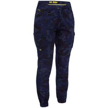 Navy - BPL6337 Womens Flex and Move Stretch Camo Cargo Pants - Limited Edition - Bisley