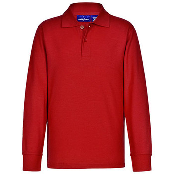 Red - PS12K Kids Traditional Poly/Cotton Pique Knit L/S Polo - Winning Spirit