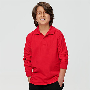 PS12K Kids Traditional Poly/Cotton Pique Knit L/S Polo - Winning Spirit