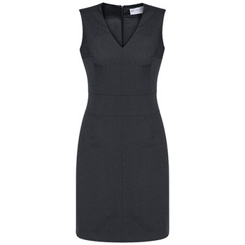 Charcoal - 30121 Womens Sleeveless V Neck Dress - Biz Corporates