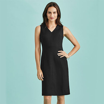 30121 Womens Sleeveless V Neck Dress - Biz Corporates