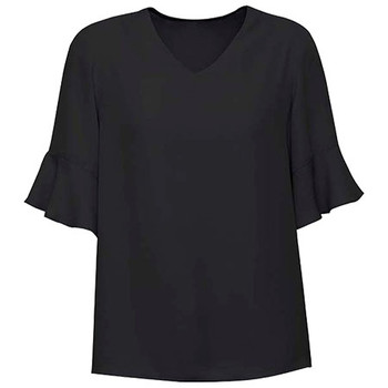 Black - RB966LS Womens Aria Fluted Sleeve Blouse - Biz Corporates