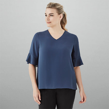 RB966LS Womens Aria Fluted Sleeve Blouse - Biz Corporates