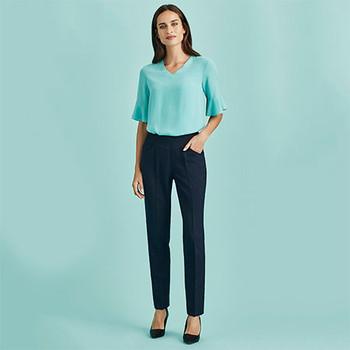 10121 Womens Bandless Slim Leg Pant - Biz Corporates