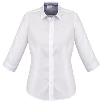 White-Turkish Blue - 41821 Womens Herne Bay 3/4 Sleeve Shirt - Biz Corporates
