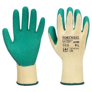 Green - A100 Grip Glove - Latex - Portwest