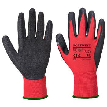 Red-Black - A174 Flex Grip Latex Glove - Portwest