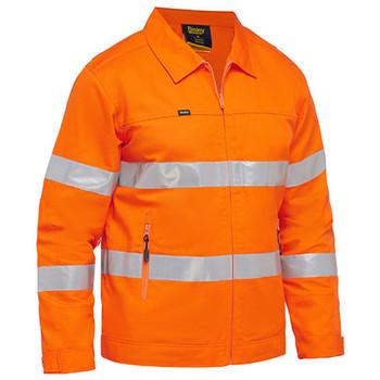 Orange - BJ6919T Taped Hi Vis Drill Jacket with Liquid Repellent Finish - Bisley