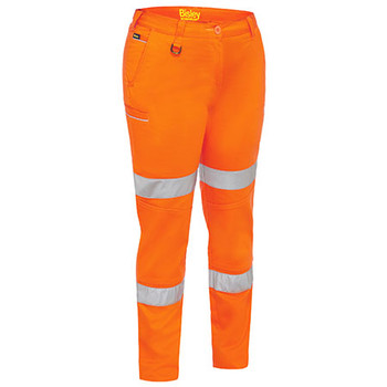 Orange - BPL6015T Womens Taped Mid Rise Stretch Cotton Pants - Bisley