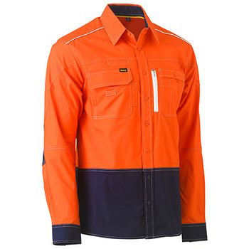 Orange-Navy - BS6177 Flex and Move Two Tone Hi Vis Utility Shirt - Bisley