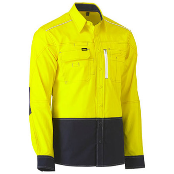 Yellow-Navy - BS6177 Flex and Move Two Tone Hi Vis Utility Shirt - Bisley