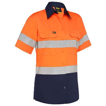 Orange-Navy - BL1896 Womens Taped Hi Vis Cool Lightweight Drill Shirt - Bisley