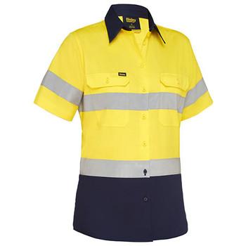 Yellow-Navy - BL1896 Womens Taped Hi Vis Cool Lightweight Drill Shirt - Bisley