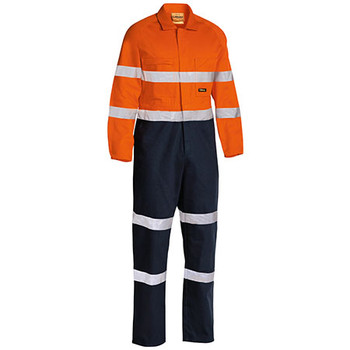 Orange-Navy - BC6357T Taped Hi Vis Drill Coverall - Bisley