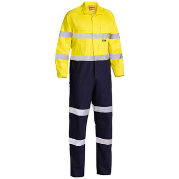Yellow-Navy - BC6357T Taped Hi Vis Drill Coverall - Bisley