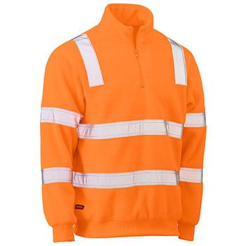 Orange - BK6816T Taped Hi Vis Rail Polar Fleece Jumper - Bisley