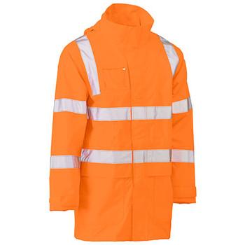 Rail Orange - BJ6964T Taped Hi Vis Rail Wet Weather Jacket - Bisley