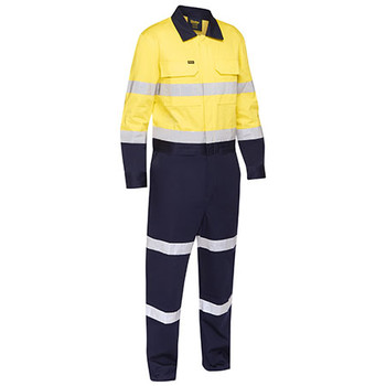 Yellow-Navy - BC6066T Taped Hi Vis Work Coveralls with Waist Zip Opening - Bisley