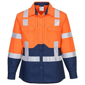 Orange-Navy - LS502 Ladies Hi-Vis Stretch Long Sleeve Shirt - Portwest