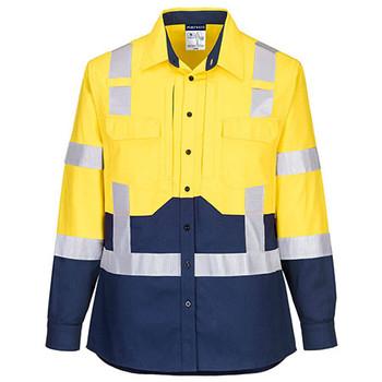 Yellow-Navy - LS502 Ladies Hi-Vis Stretch Long Sleeve Shirt - Portwest