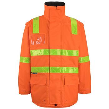 Orange - 6DVRL Vic Road DN Zip Off Sleeve Longline Jacket - JBs Wear