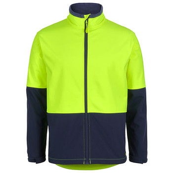 Lime-Navy - 6HRJ Hi Vis Water Resist Softshell Jacket - JBs Wear
