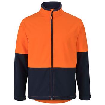 Orange-Navy - 6HRJ Hi Vis Water Resist Softshell Jacket - JBs Wear